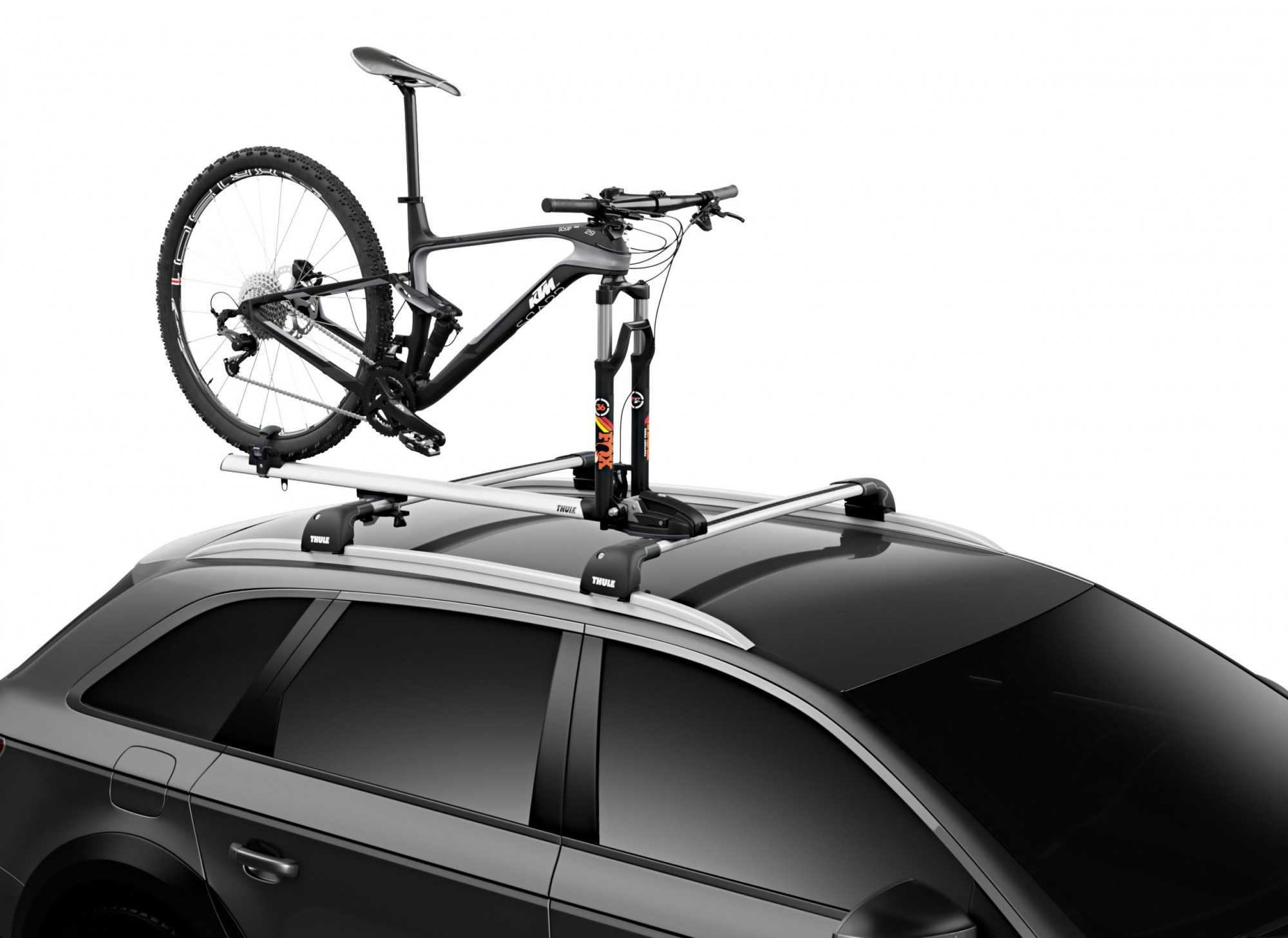 Fork-mount bike rack designed to fit thru-axles without extra adapters.